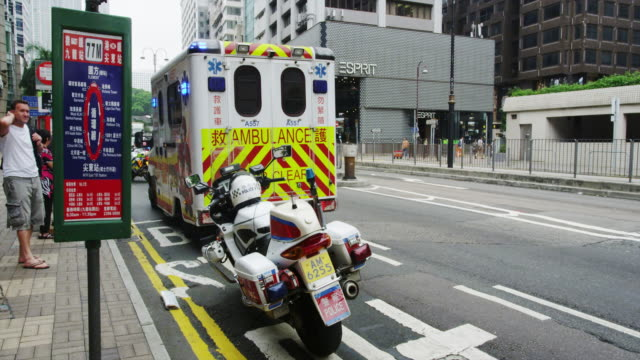 traffic accident in tsim sha tsui - ambulance stock videos & royalty-free footage