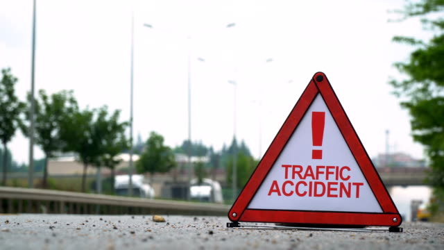 traffic accident! - traffic sign - road closed sign stock videos & royalty-free footage