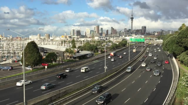 Traffic against Auckland City Skyline