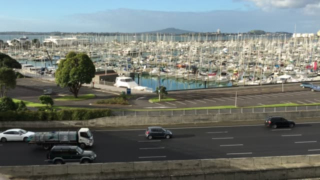 Traffic against Westhaven Marina Auckland