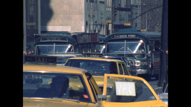traffic along fifth avenue in new york city in the 1970s. - new york state stock videos & royalty-free footage