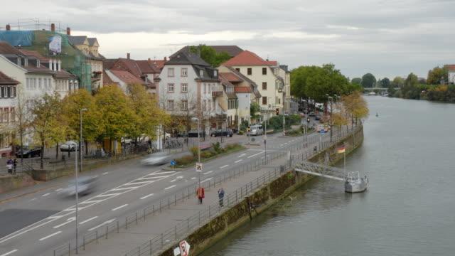 t/l, ws, ha, traffic along river neckar, heidelberg, baden-wurttemberg, germany - neckar river stock videos & royalty-free footage