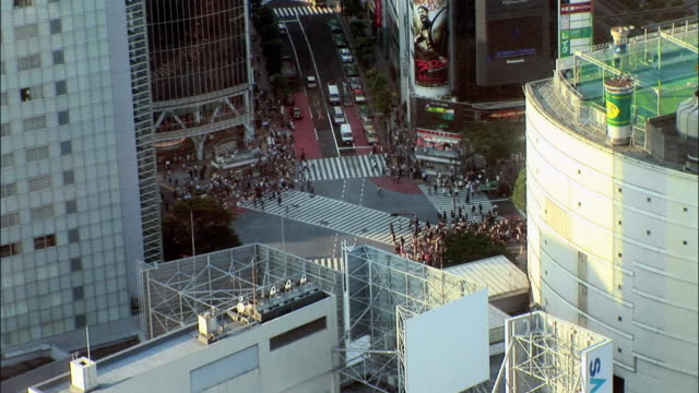 HA WS Traffic and crowd of pedestrians crossing busy intersection / Tokyo, Japan
