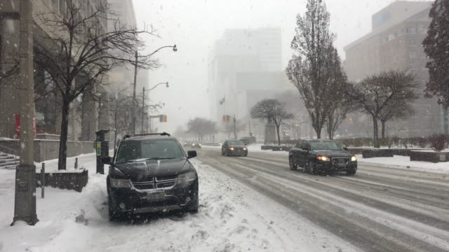 traffic and everyday lifestyle in university avenue during the day during the snowstorm that hit toronto on january 28, 2019. the polar vortex... - cold temperature点の映像素材/bロール