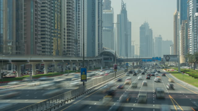 Traffic and Metro line on Sheikh Zayed Road, Dubai, United Arab Emirates, Middle East, Asia