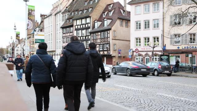 Traffic and pedestrians in downtown Strasbourg