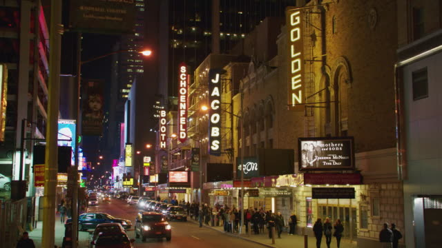 ws traffic and pedestrians mingling in the broadway theater district / new york city, new york, united states - broadway stock videos & royalty-free footage