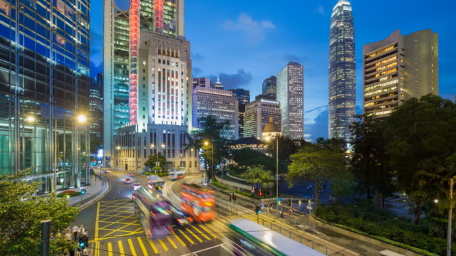 traffic and people in central, hong kong island, hong kong, china - time lapse - hong kong island stock videos & royalty-free footage