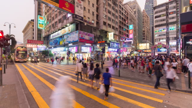 traffic and people in central, hong kong island, hong kong, china - time lapse - pedestrian stock videos & royalty-free footage