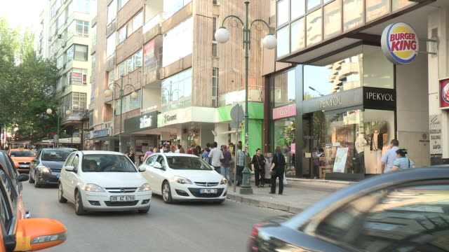 Traffic and Shops in Ankara, Turkey