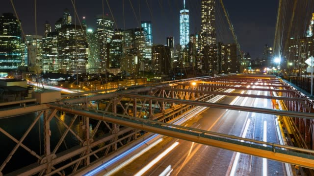 traffic and skyline - brooklyn bridge stock videos & royalty-free footage