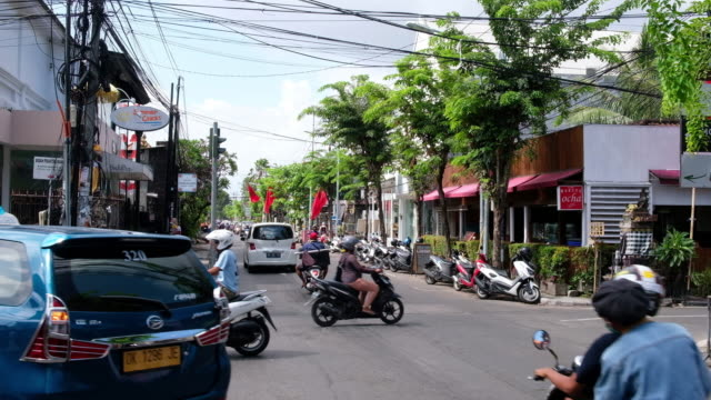 traffic and street scene in bali, indonesia - jakarta stock videos & royalty-free footage