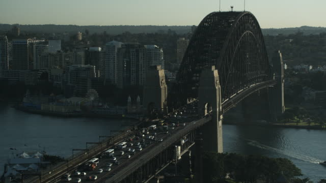 T/L WS HA Traffic and trains on Sydney Harbor Bridge / Sydney, New South Wales, Australia
