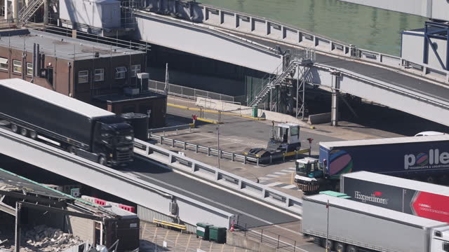 traffic and transportation near eurotunnel terminal in folkestone and port of dover in dover, kent, u.k., on tuesday, june 1, 2021. - motorway junction stock videos & royalty-free footage