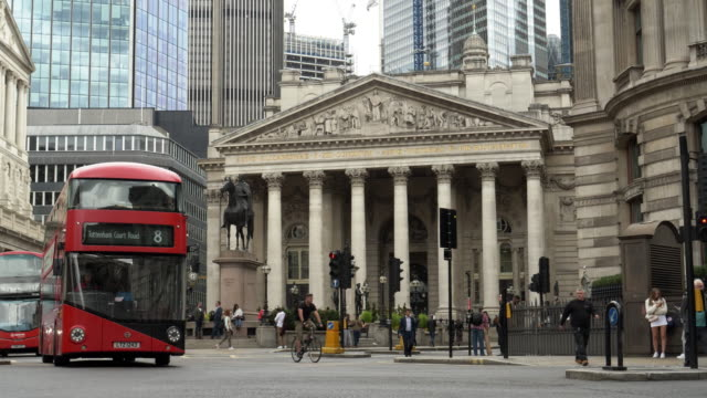 traffic around royal exchange in london city - double decker bus stock videos & royalty-free footage
