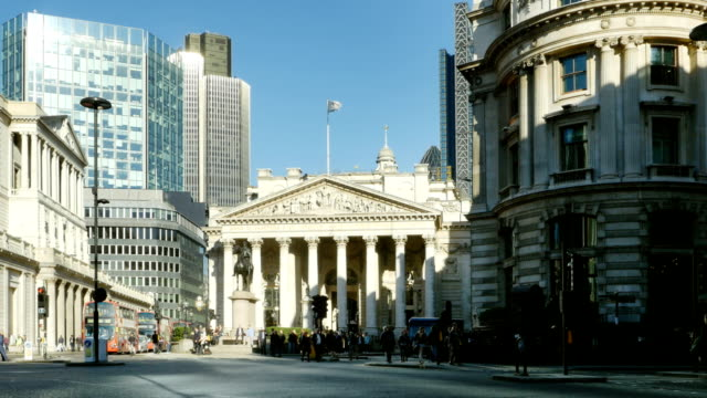 Traffic Around Royal Exchange In London City