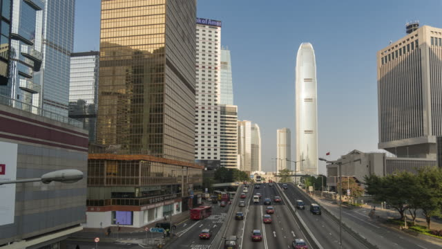 traffic at central business district time lapse - central district hong kong stock videos and b-roll footage