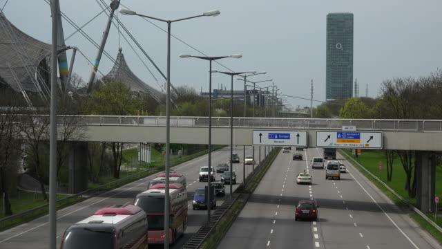 Traffic at Georg-Brauchle-Ring near Olympic Park, Munich, Bavaria, Germany