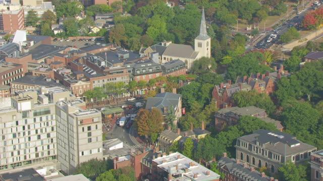 WS ZO AERIAL POV Traffic at Harvard Square with Harvard University campus / Cambridge, Massachusetts, United States