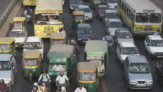 WS Traffic at intersection city road / Delhi, Delhi , India