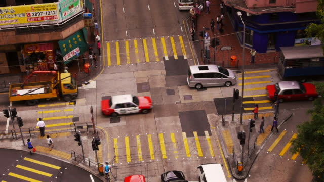 Traffic at Intersection in Mongkok, Hong Kong