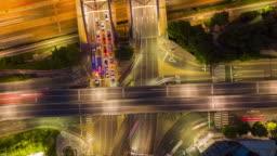 Traffic at Night in Seoul City,South Korea.Timelapse 4k