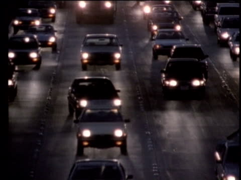 1990 montage traffic at night, los angeles, california, usa, audio - 1990 stock videos & royalty-free footage