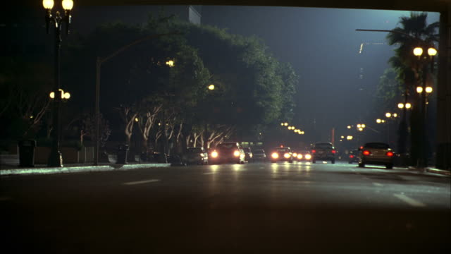 pan traffic at night on broad, well-lit avenue - back lit video stock e b–roll
