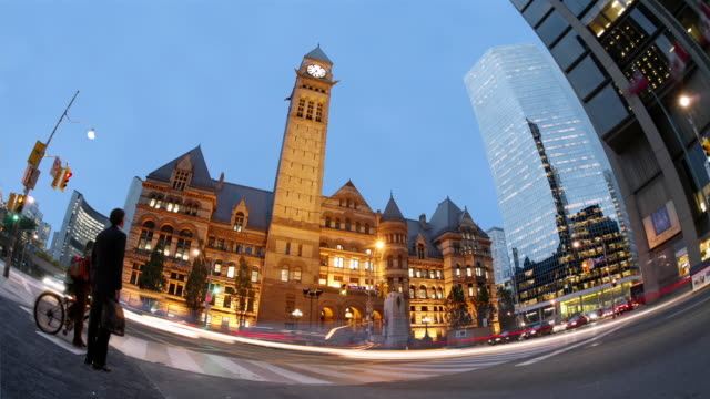 T/L, MS, FISH EYE, Traffic at Old City Hall, New City Hall in background, dusk, Toronto, Ontario