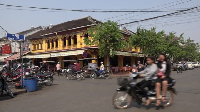 traffic at old market area in downtown siem reap - angkor stock videos and b-roll footage