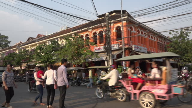 traffic at old market area in downtown siem reap - cambodia stock videos & royalty-free footage