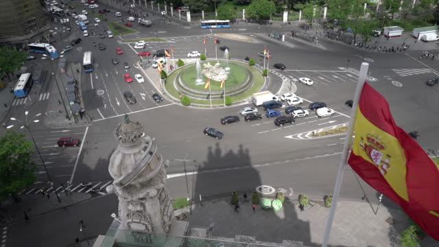 traffic at plaza de cibeles - madrid stock videos and b-roll footage