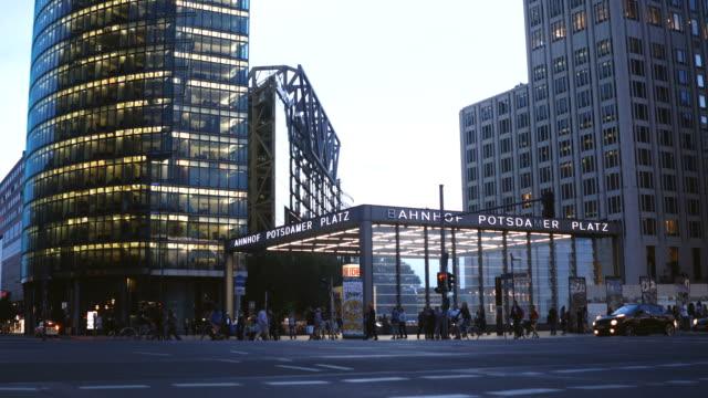 traffic at potsdamer platz, berlin, timelapse - postmodern stock videos and b-roll footage
