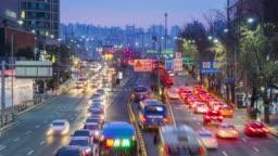 Traffic at Seoul City,South Korea.Timelapse 4k