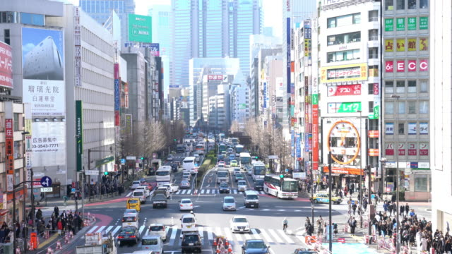 Verkeer in Shinjuku Tokyo