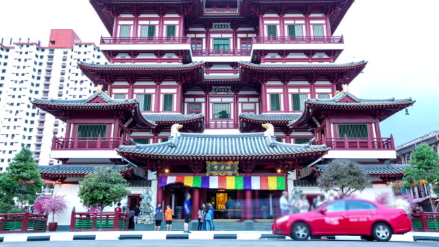 traffic at singapore buddha tooth relic temple,time lapse. - full hd format stock videos & royalty-free footage