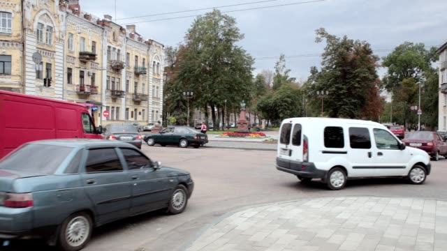 traffic at the crossroads. city life in ukraine. - ukraine stock videos & royalty-free footage