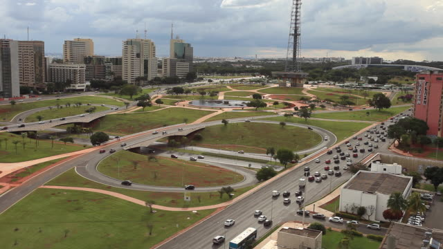 traffic at the monumental axis, brasilia - brasilia stock videos and b-roll footage