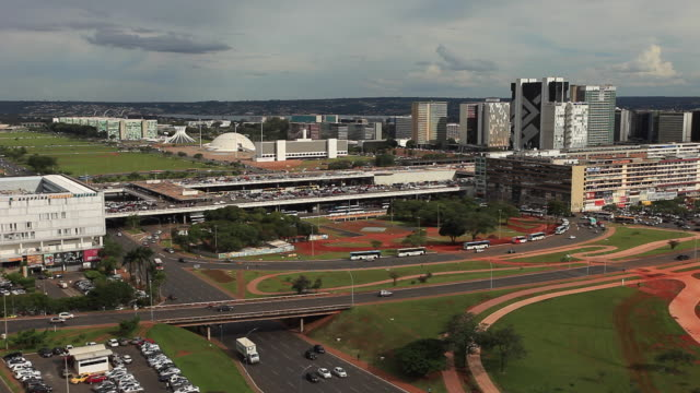 traffic at the monumental axis, tv tower square, brasilia - brasilia stock videos and b-roll footage