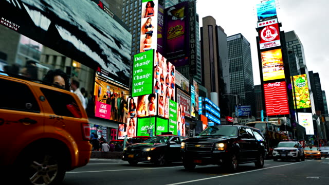 traffic at time square - digital signage stock videos and b-roll footage
