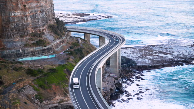 traffic, bridge and ocean - hill stock videos & royalty-free footage