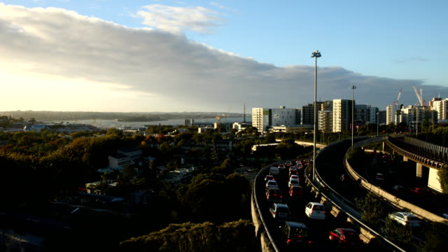 Traffic builds along the southern and northern motorways at rush hour on April 20 2017 in Auckland New Zealand