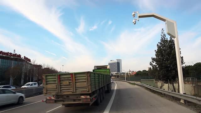 traffic camera unit monitoring violations, speeding, road surveillance cctv stock video turkey, hd resolution, alarm, camera - photographic equipment, car - safety stock videos & royalty-free footage