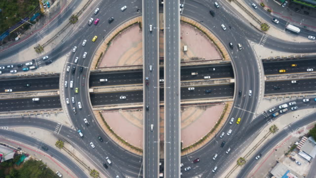 traffic circle aerial view - cross section stock videos & royalty-free footage