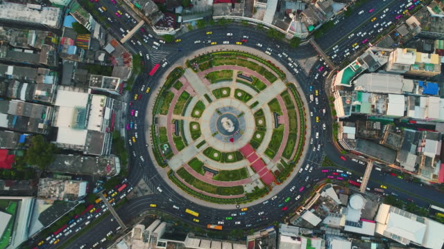 Traffic circle roundabout aerial view