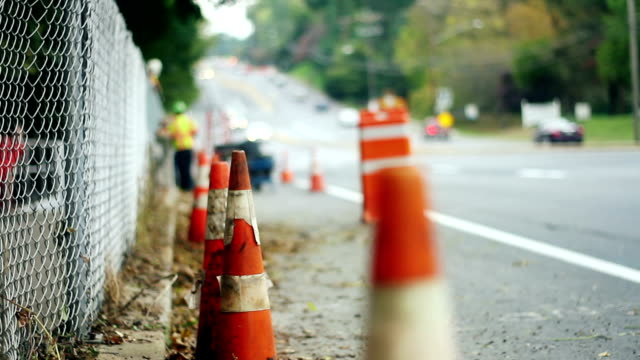 traffic cones, construction workers - traffic cone stock videos & royalty-free footage