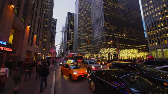 Traffic congestion on 6th Avenue at Christmas Holidays Seasons.