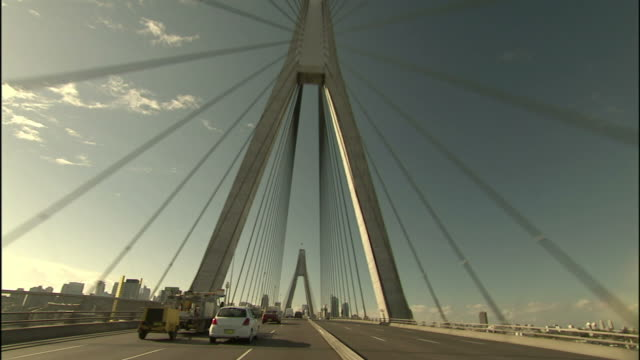 traffic crosses the anzac bridge in sydney, australia. - car point of view stock videos & royalty-free footage