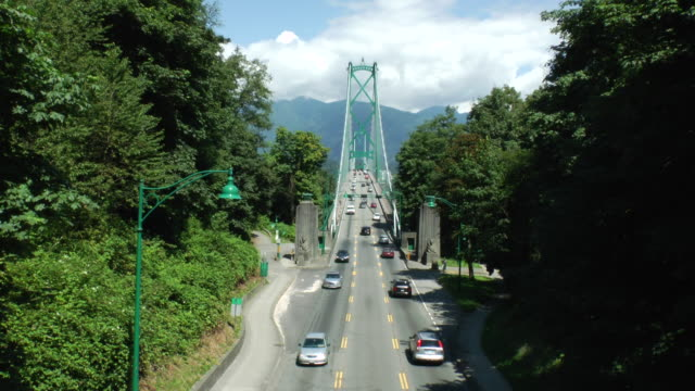 Traffic crosses the First Narrows Bridge in Vancouver.