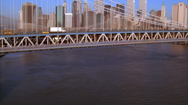 traffic crosses the george washington bridge to manhattan. available in hd. - 2001 stock videos and b-roll footage